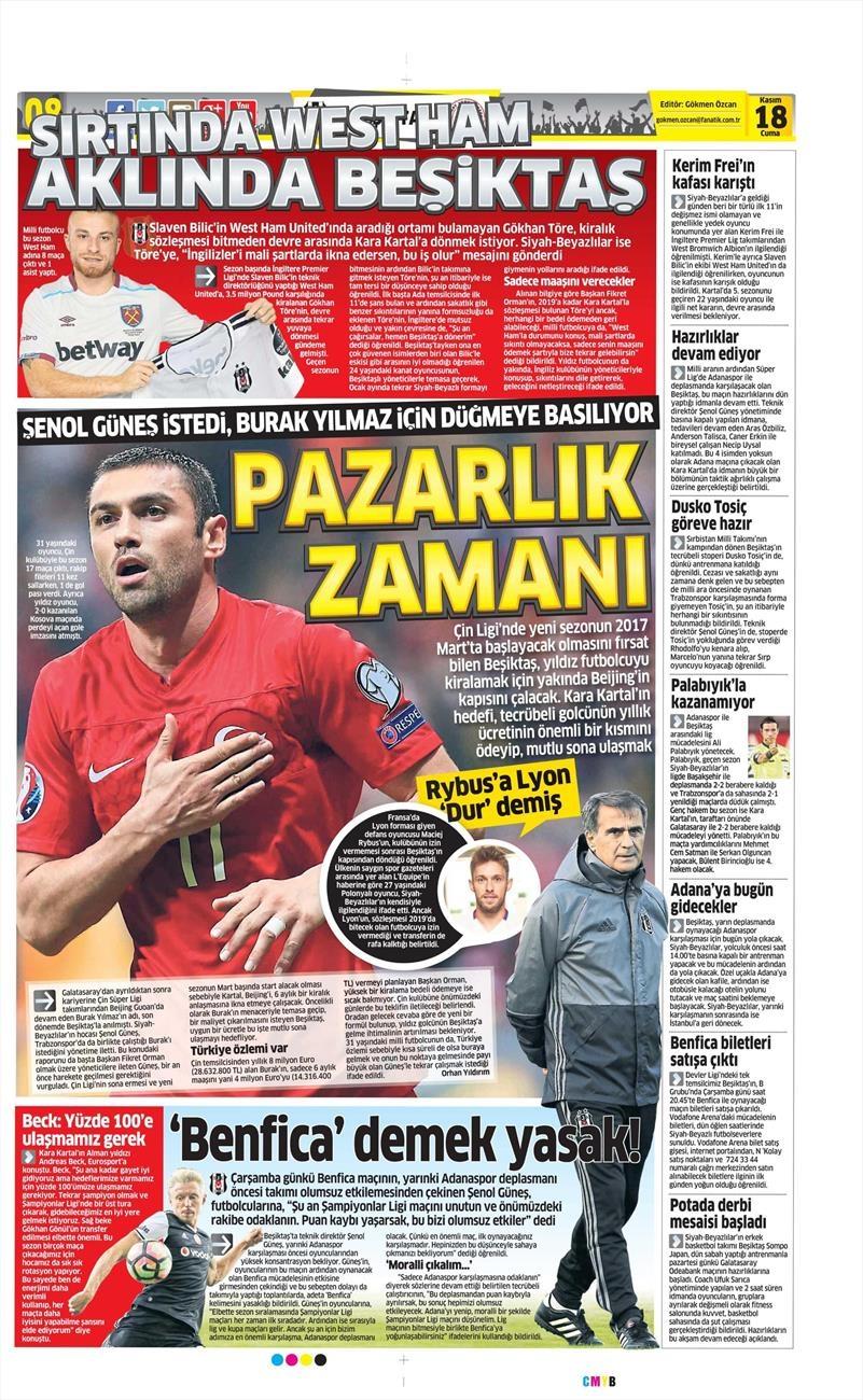 18 Kasım 2016 | Gazetelerin Beşiktaş sayfaları 11