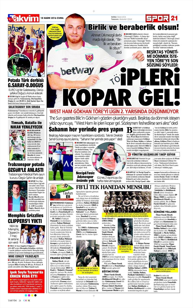18 Kasım 2016 | Gazetelerin Beşiktaş sayfaları 3