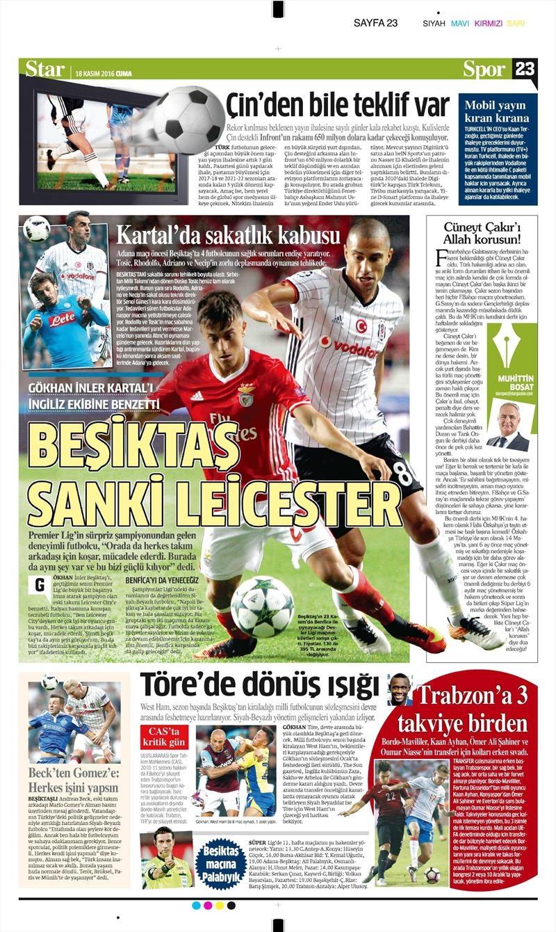 18 Kasım 2016 | Gazetelerin Beşiktaş sayfaları 4