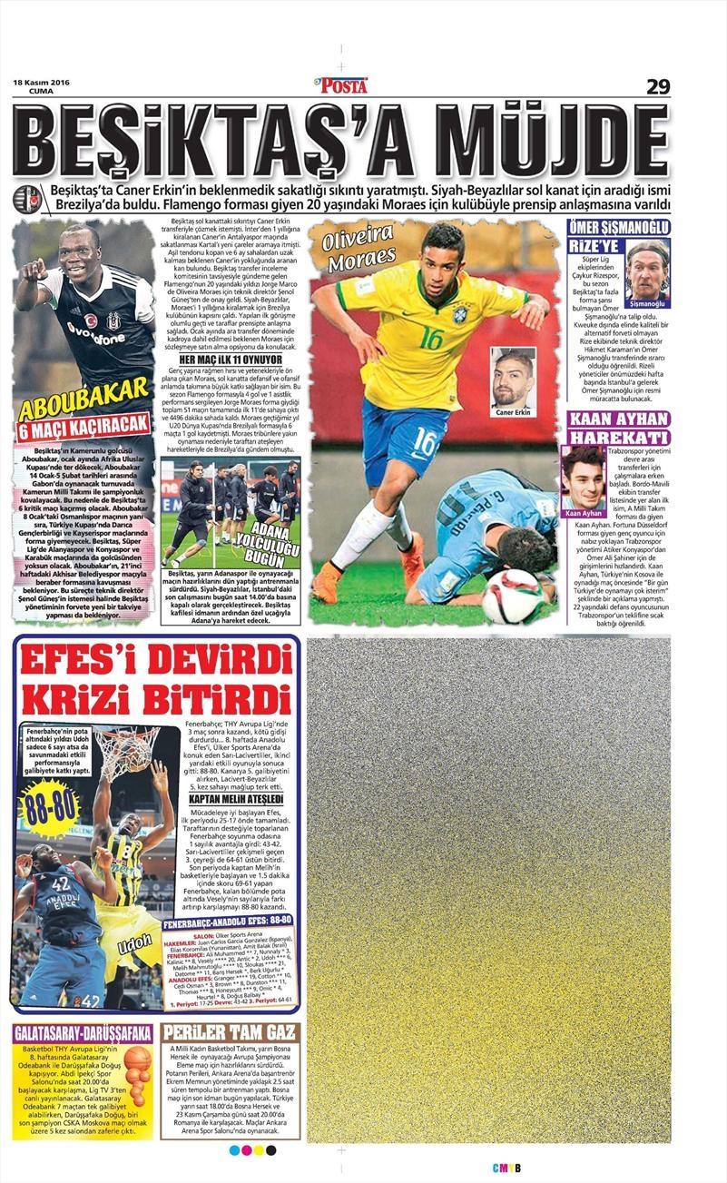 18 Kasım 2016 | Gazetelerin Beşiktaş sayfaları 6