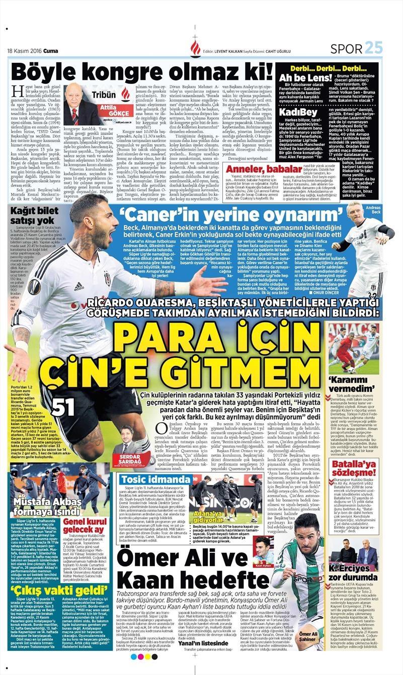 18 Kasım 2016 | Gazetelerin Beşiktaş sayfaları 7