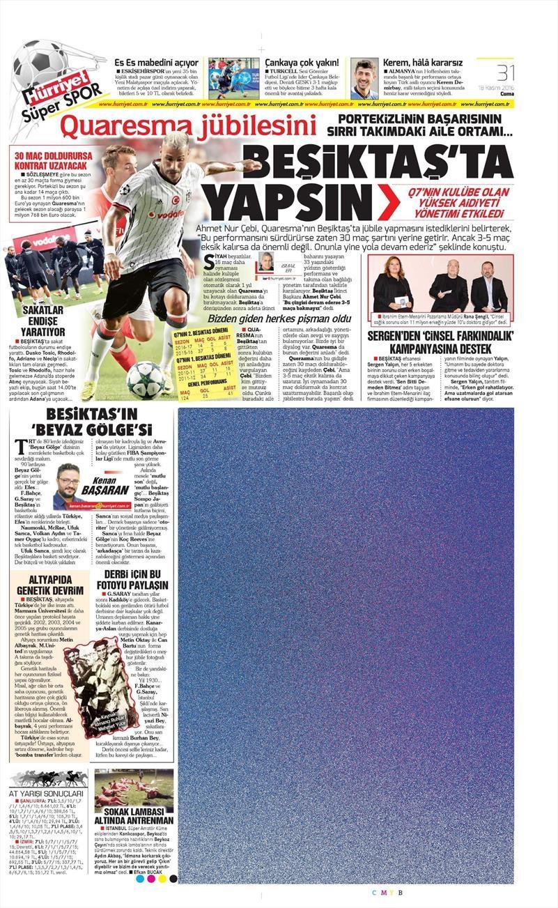 18 Kasım 2016   Gazetelerin Beşiktaş sayfaları 8