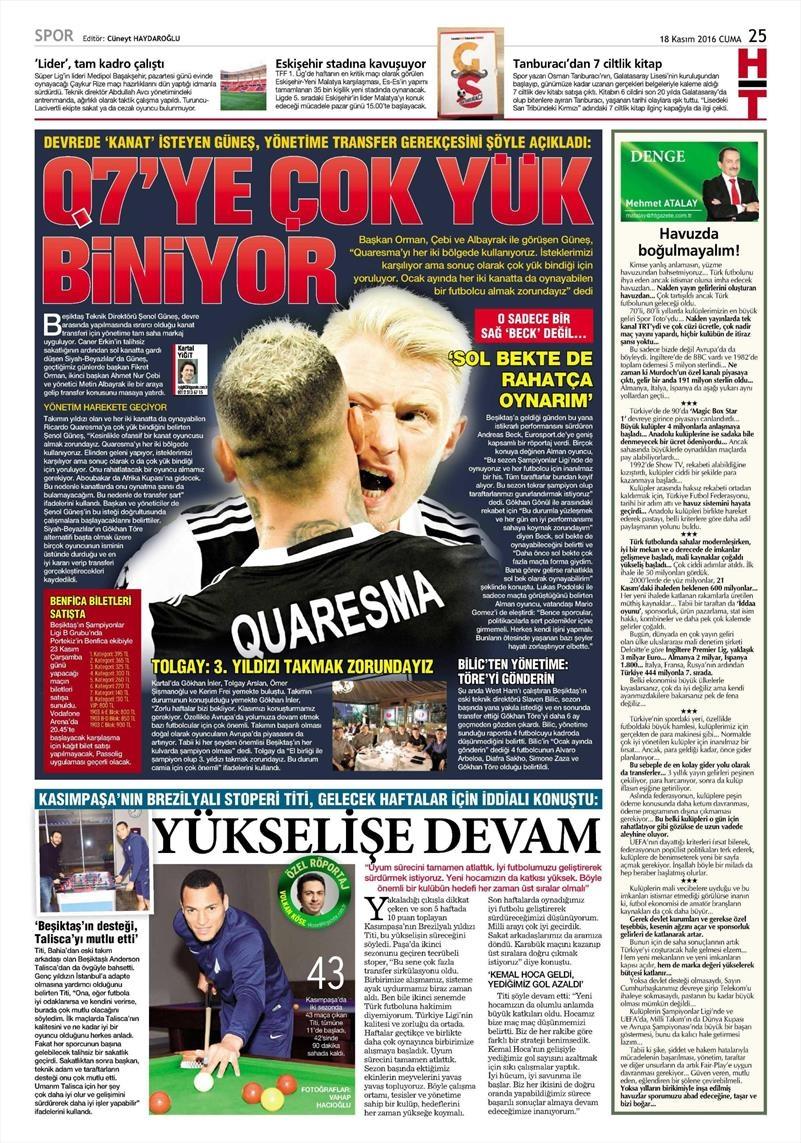 18 Kasım 2016 | Gazetelerin Beşiktaş sayfaları 9
