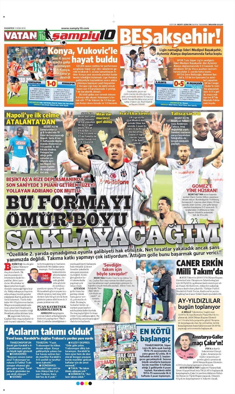 3 Ekim 2016 | Beşiktaş sayfaları 1