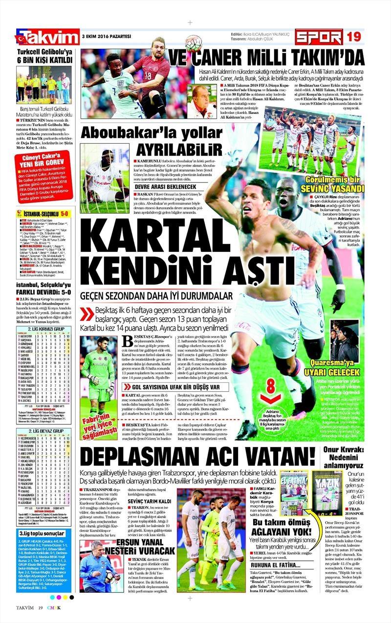 3 Ekim 2016 | Beşiktaş sayfaları 2