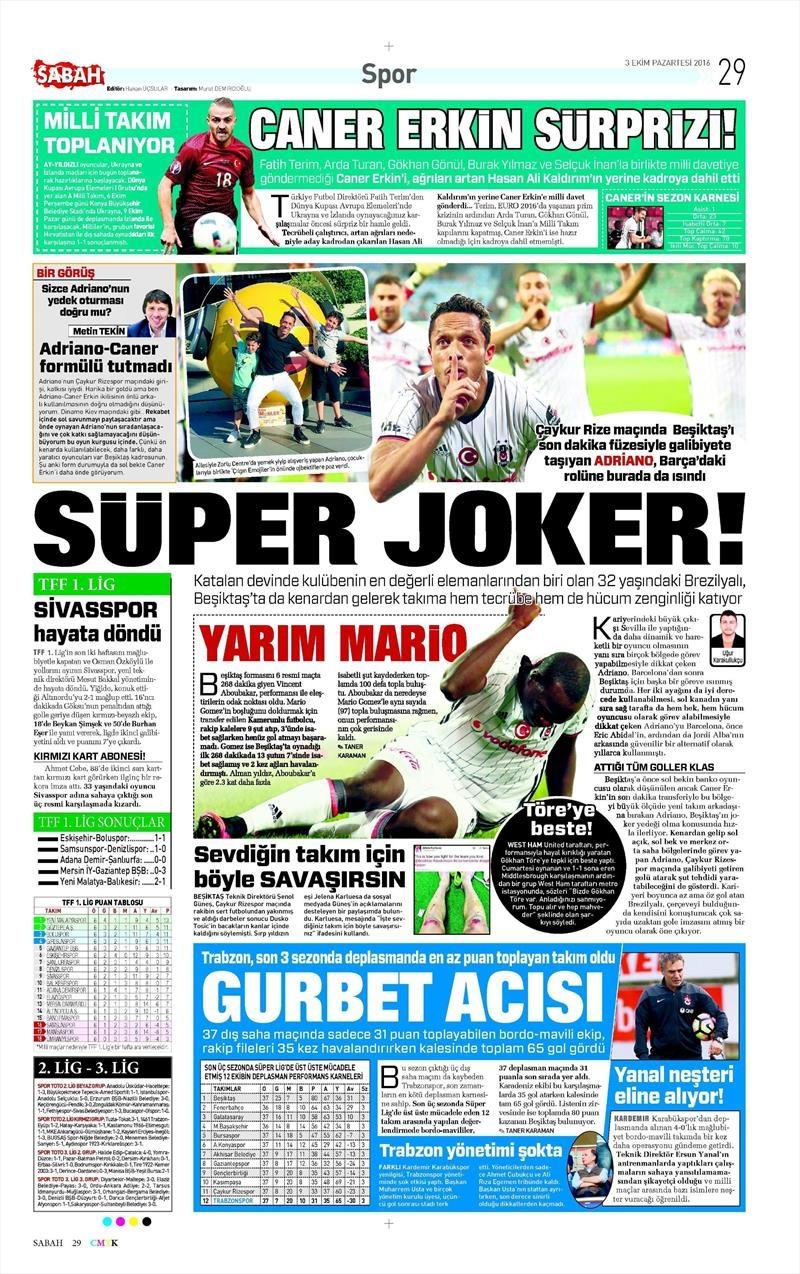 3 Ekim 2016 | Beşiktaş sayfaları 3