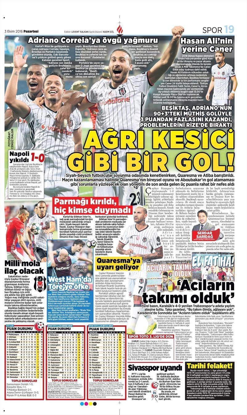 3 Ekim 2016 | Beşiktaş sayfaları 4