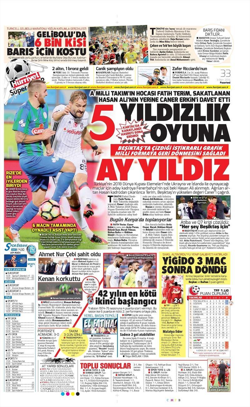 3 Ekim 2016 | Beşiktaş sayfaları 5
