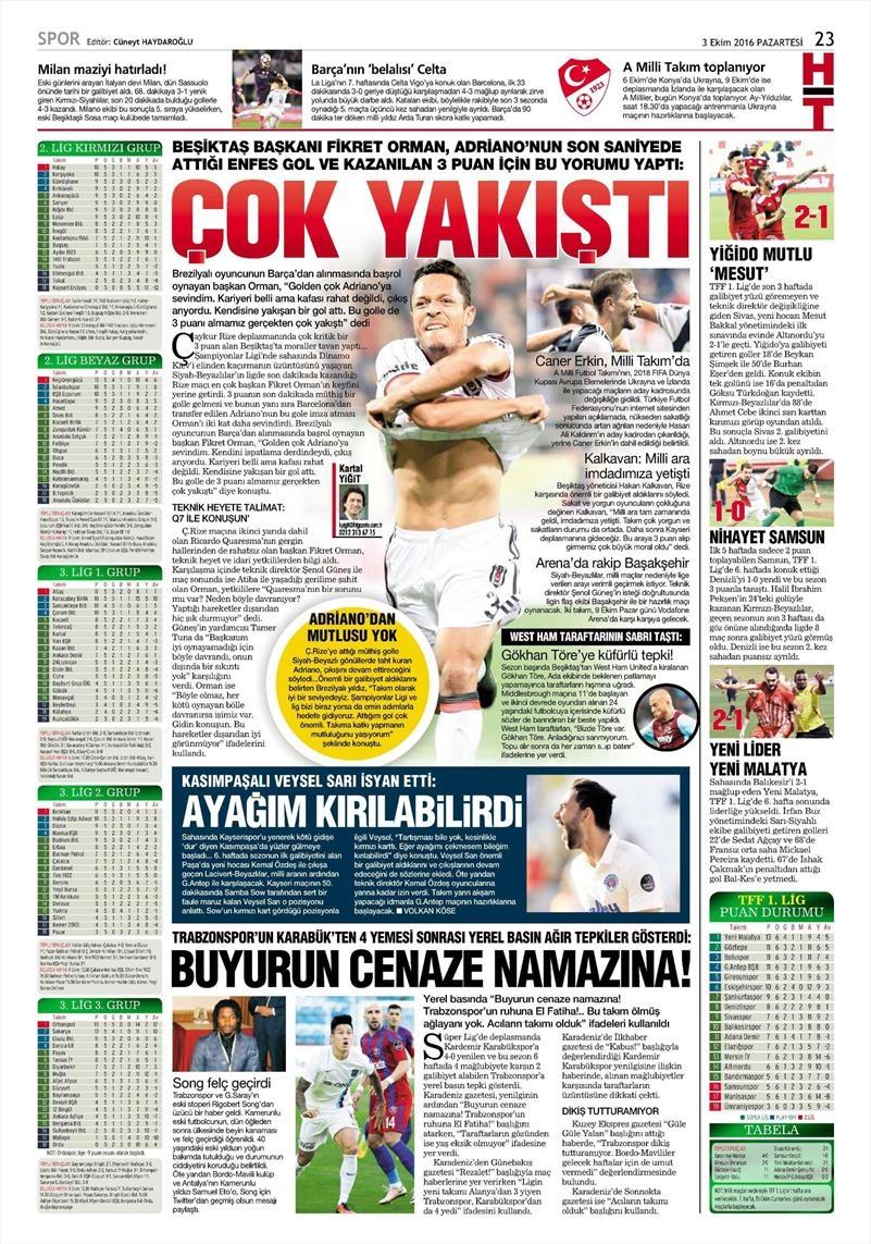 3 Ekim 2016 | Beşiktaş sayfaları 6