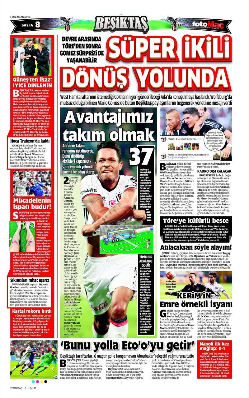 3 Ekim 2016 | Beşiktaş sayfaları 7