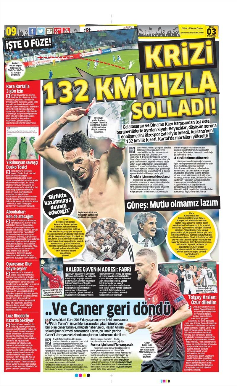 3 Ekim 2016 | Beşiktaş sayfaları 8