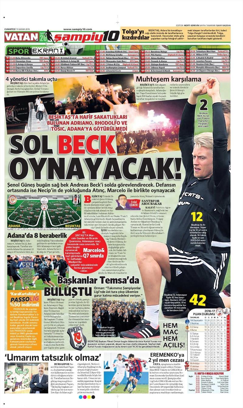 19 Kasım 2016 | Gazetelerin Beşiktaş sayfaları 1