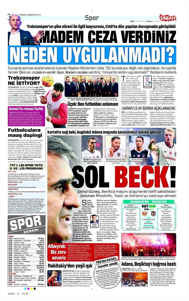 19 Kasım 2016   Gazetelerin Beşiktaş sayfaları 2