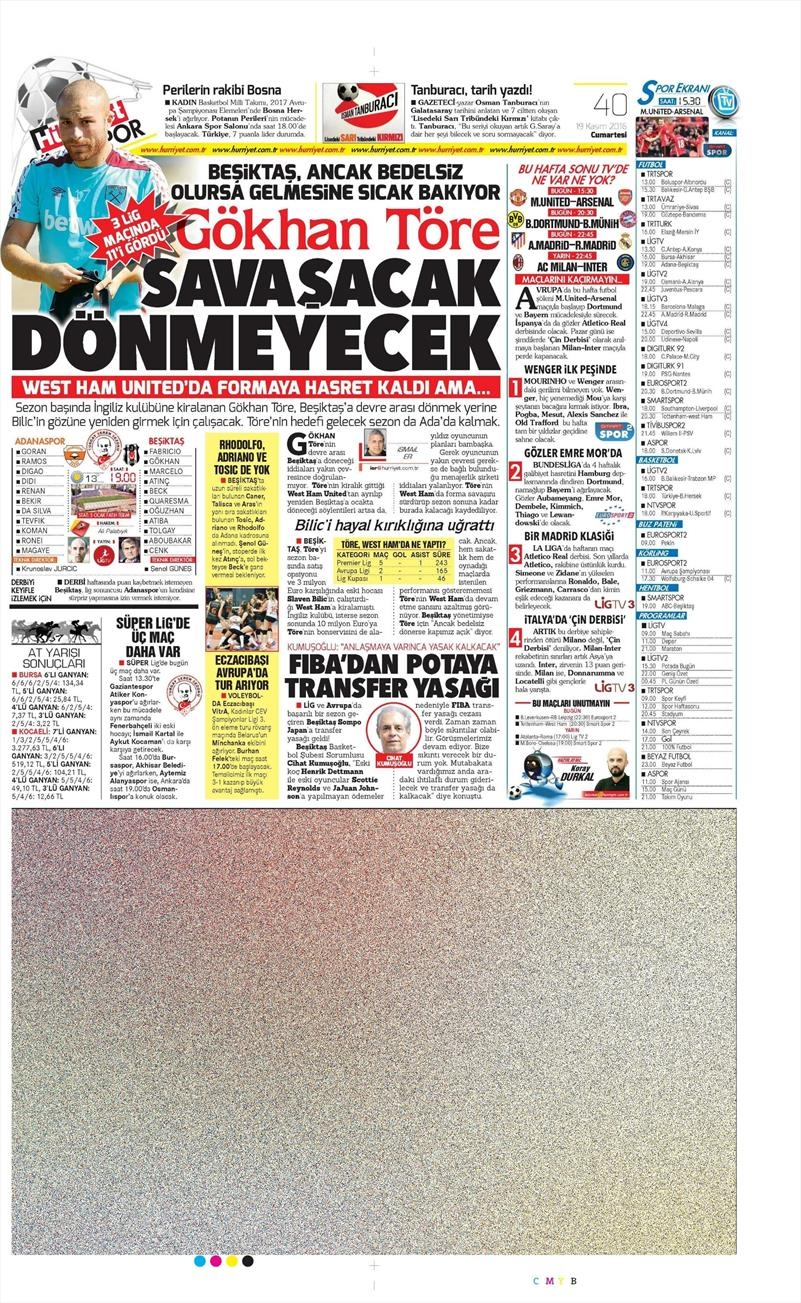 19 Kasım 2016 | Gazetelerin Beşiktaş sayfaları 4
