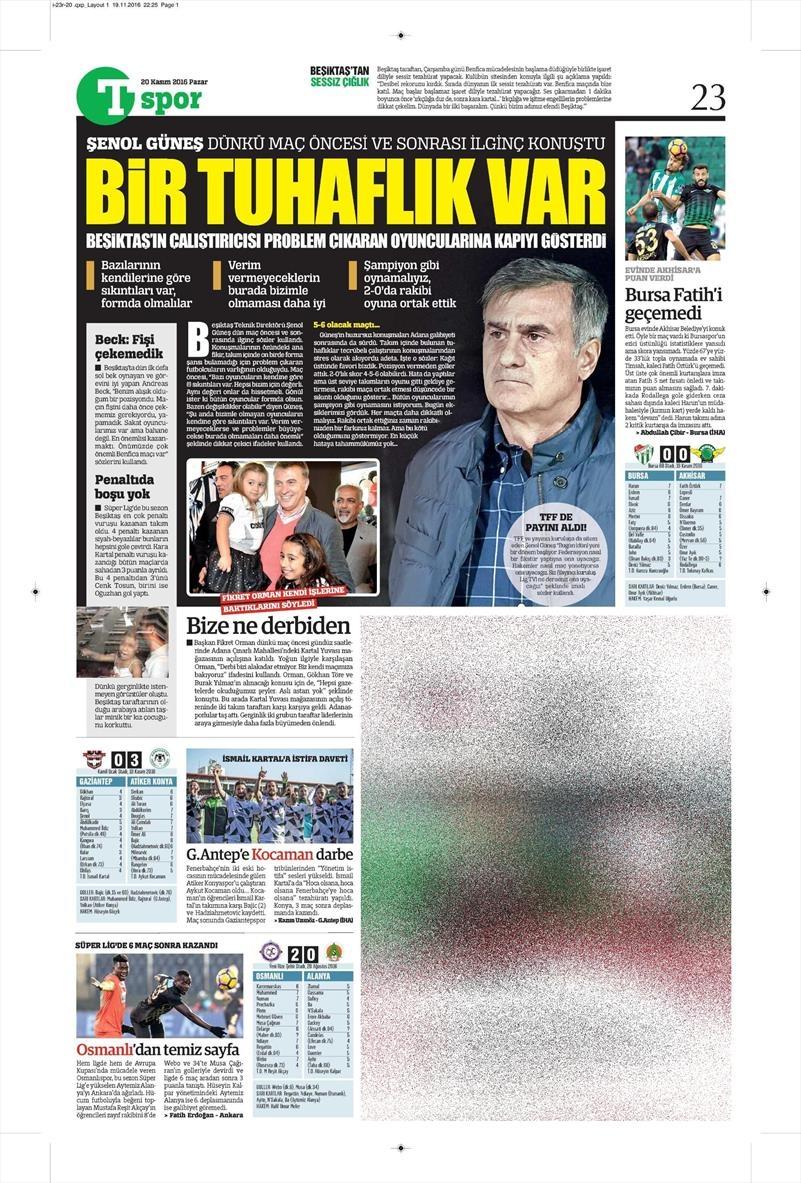 20 Kasım 2016 | Gazetelerin Beşiktaş manşetleri 10