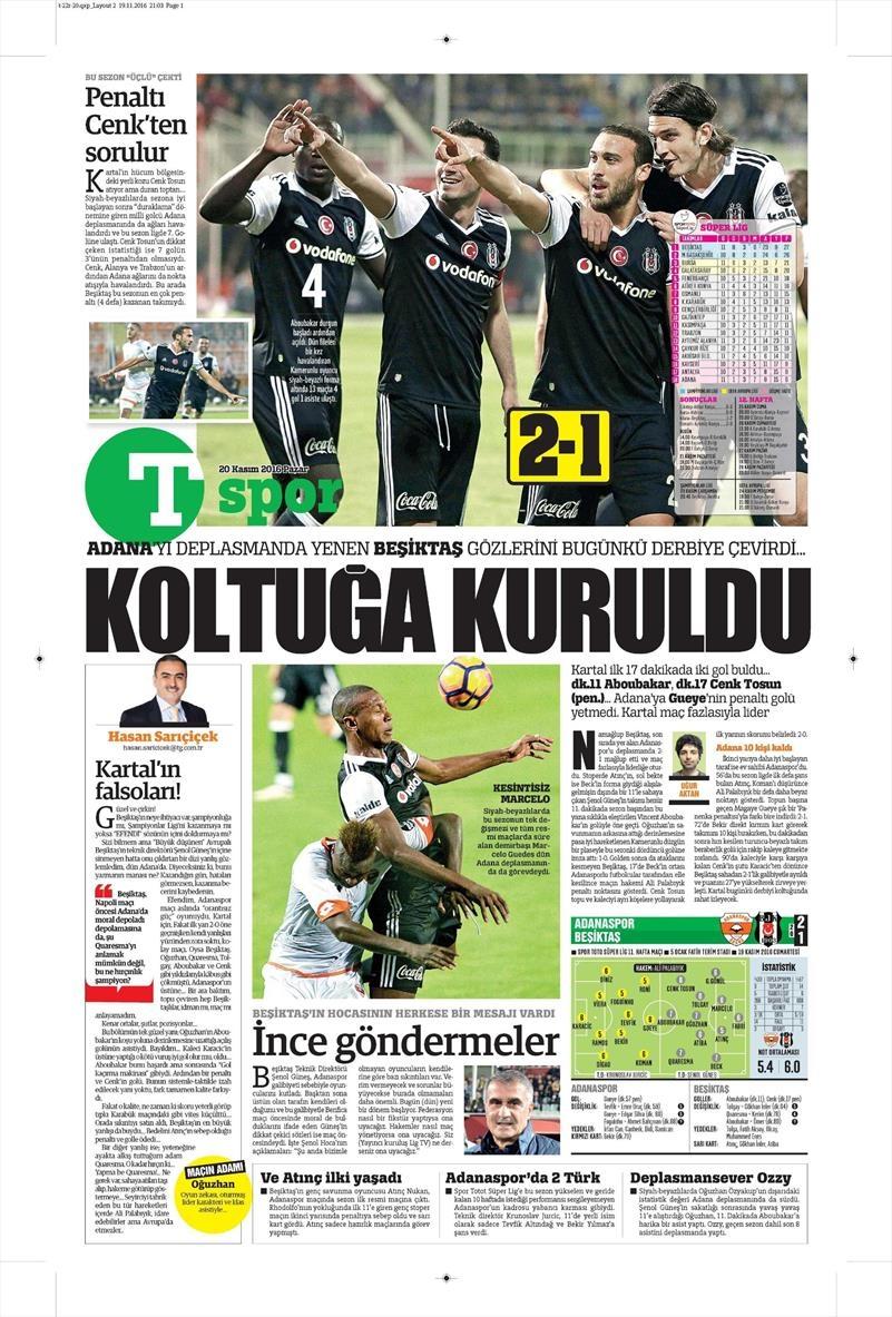 20 Kasım 2016 | Gazetelerin Beşiktaş manşetleri 11
