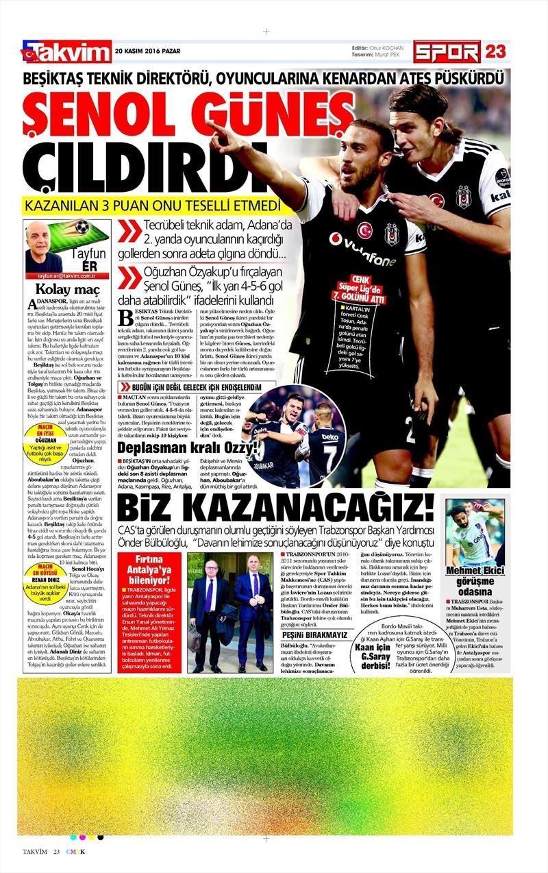 20 Kasım 2016   Gazetelerin Beşiktaş manşetleri 12