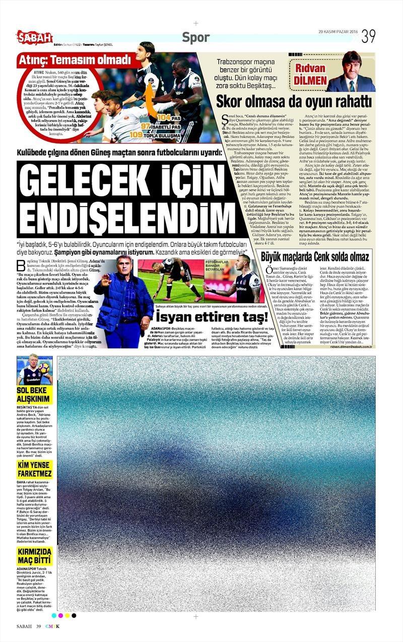 20 Kasım 2016 | Gazetelerin Beşiktaş manşetleri 15