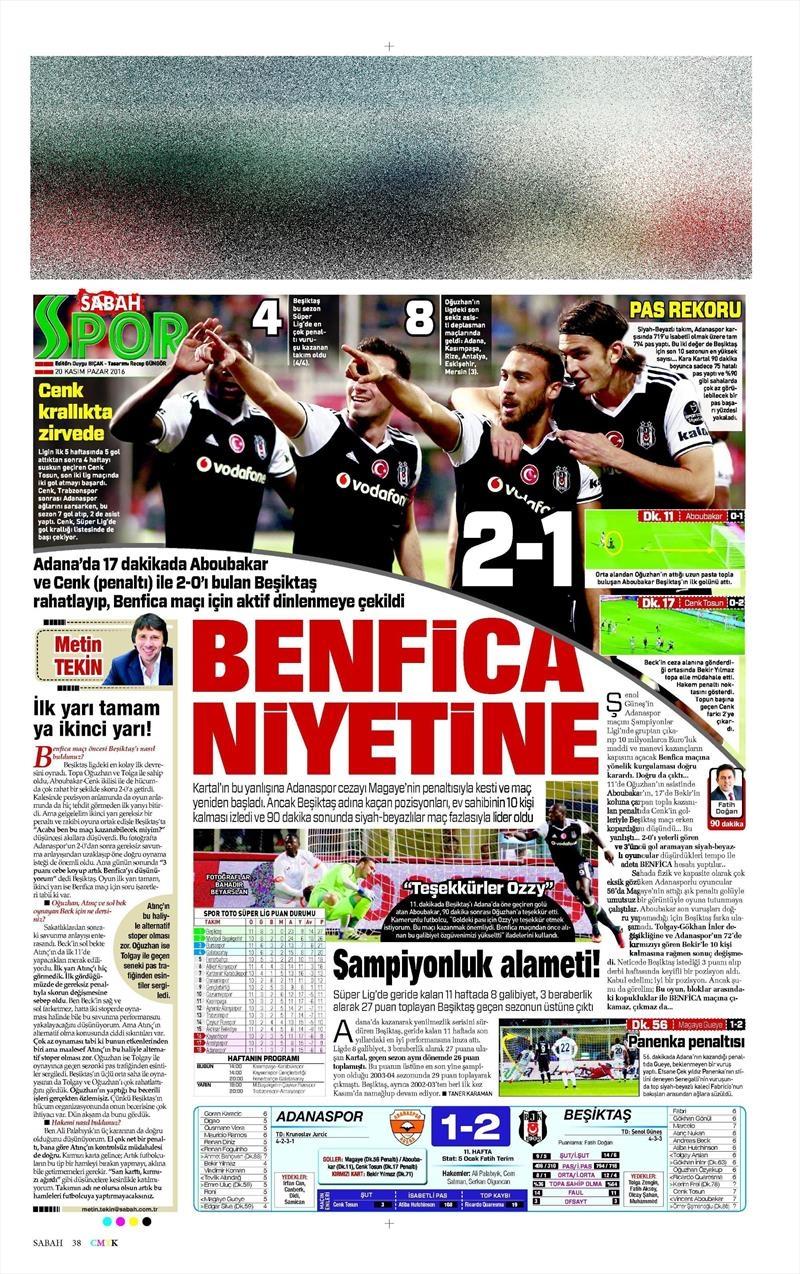 20 Kasım 2016   Gazetelerin Beşiktaş manşetleri 16