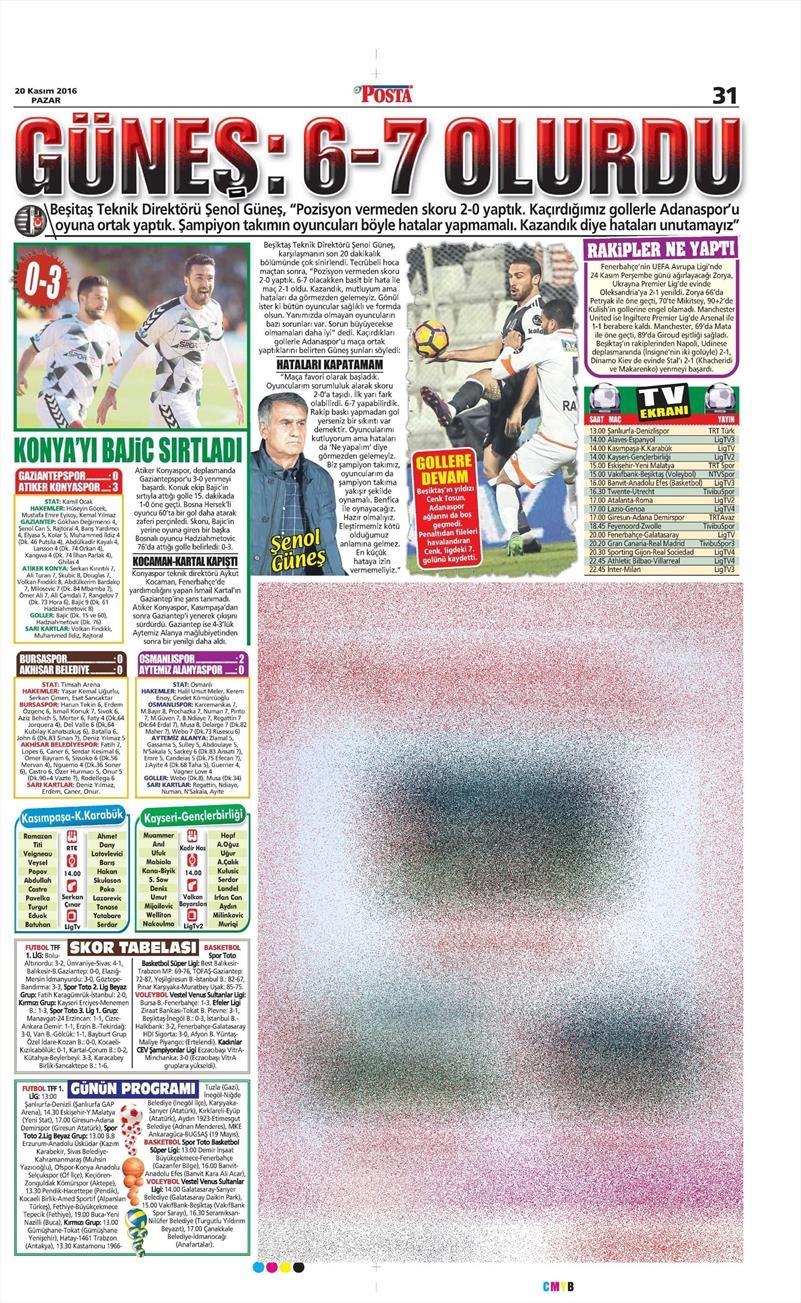 20 Kasım 2016 | Gazetelerin Beşiktaş manşetleri 17