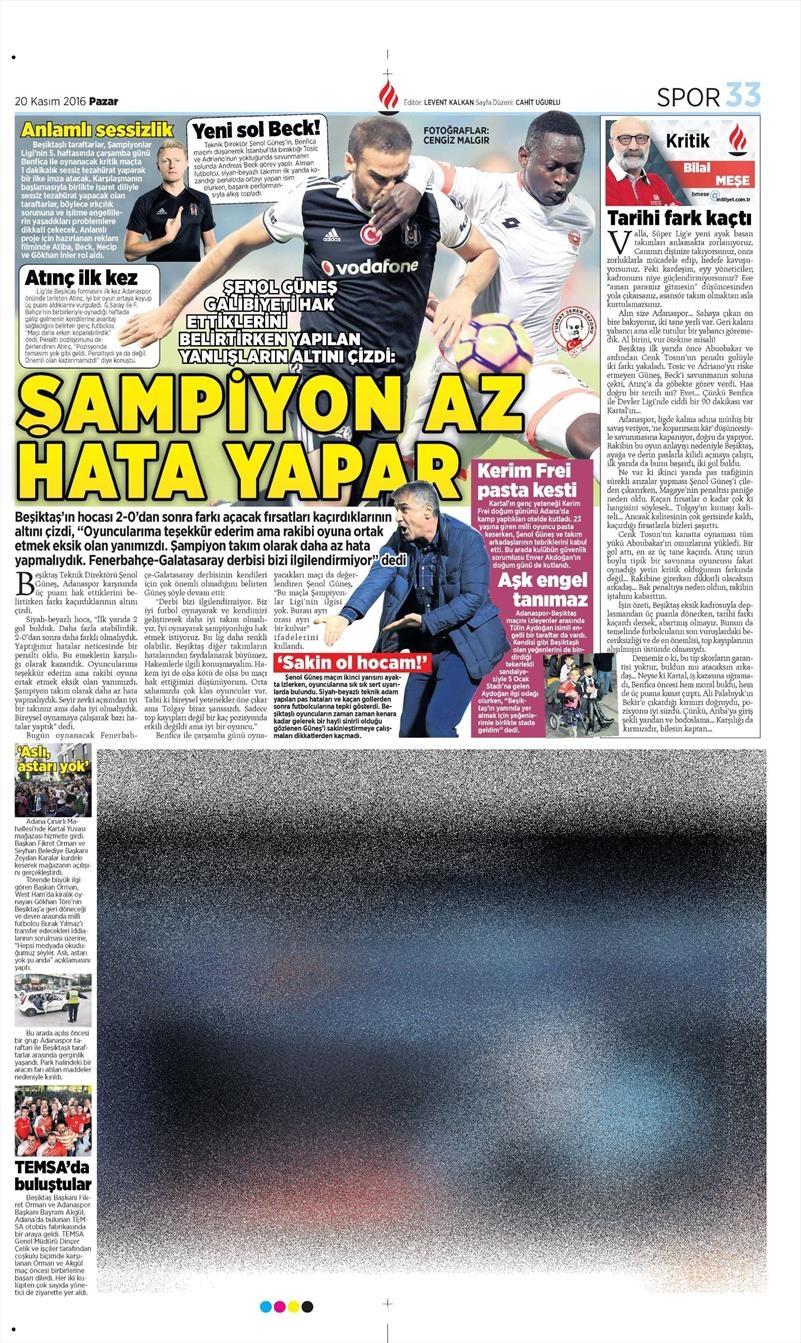 20 Kasım 2016 | Gazetelerin Beşiktaş manşetleri 19