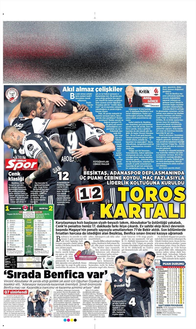 20 Kasım 2016 | Gazetelerin Beşiktaş manşetleri 20