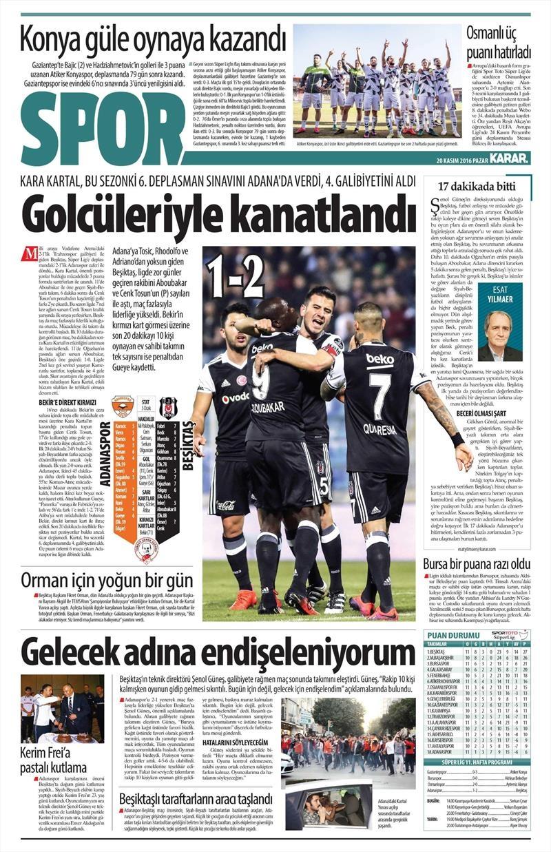 20 Kasım 2016 | Gazetelerin Beşiktaş manşetleri 21