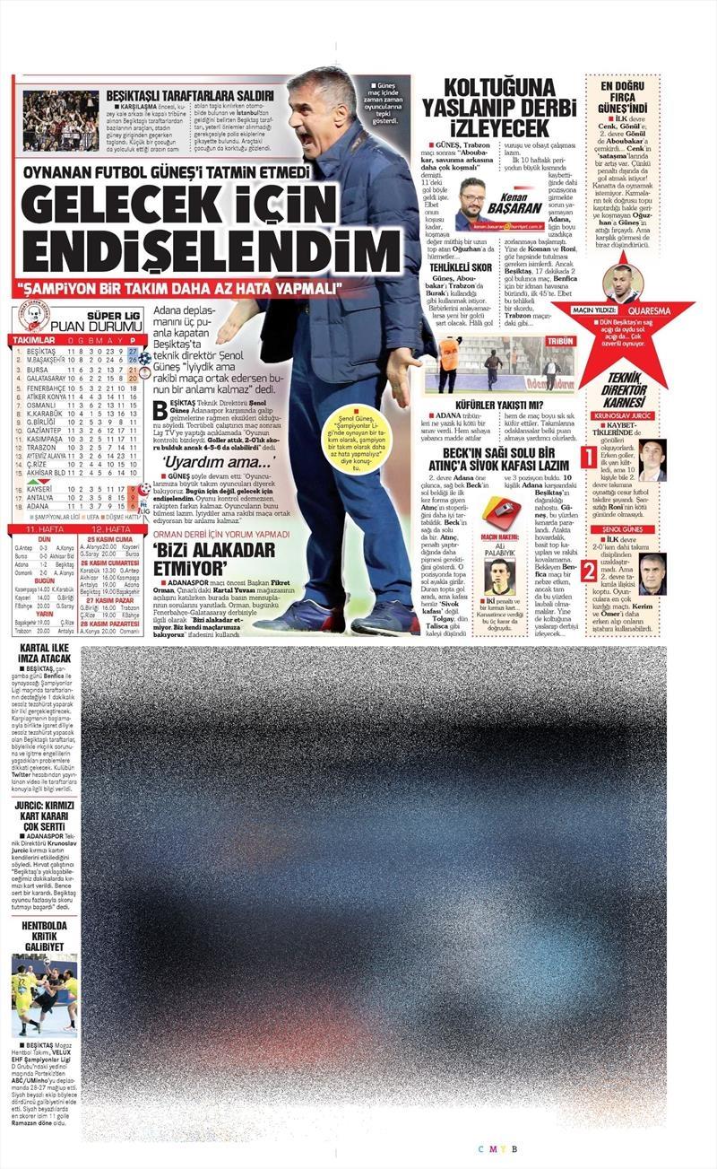 20 Kasım 2016   Gazetelerin Beşiktaş manşetleri 22