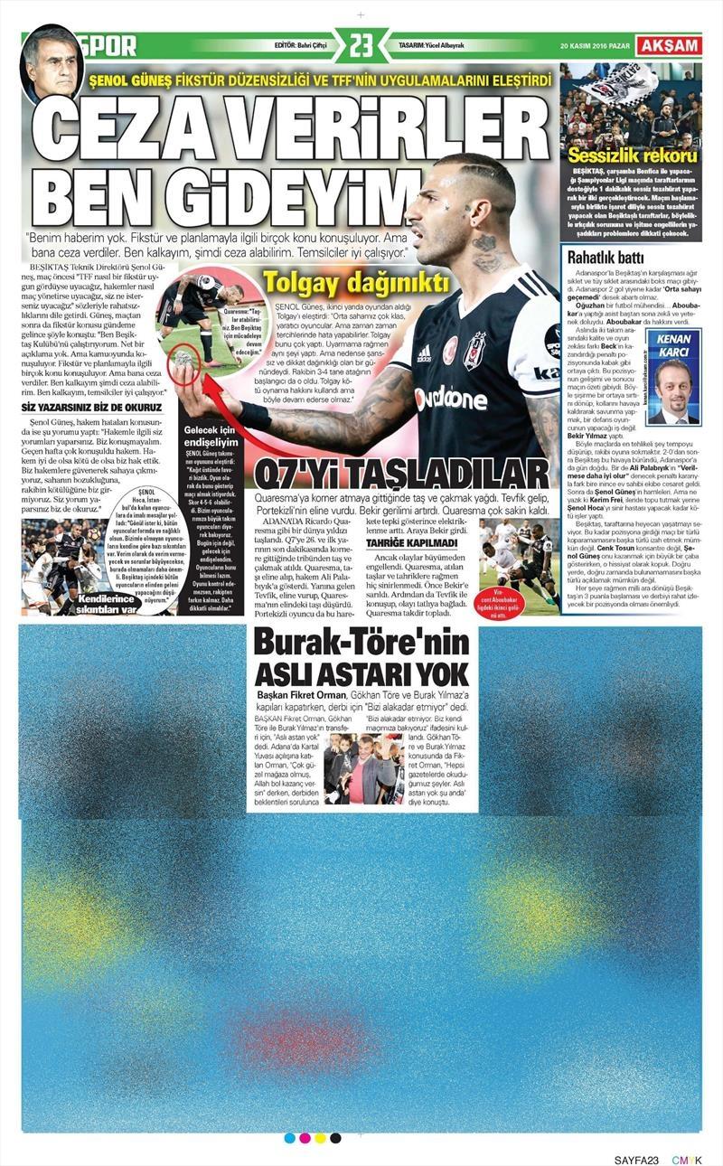 20 Kasım 2016 | Gazetelerin Beşiktaş manşetleri 24