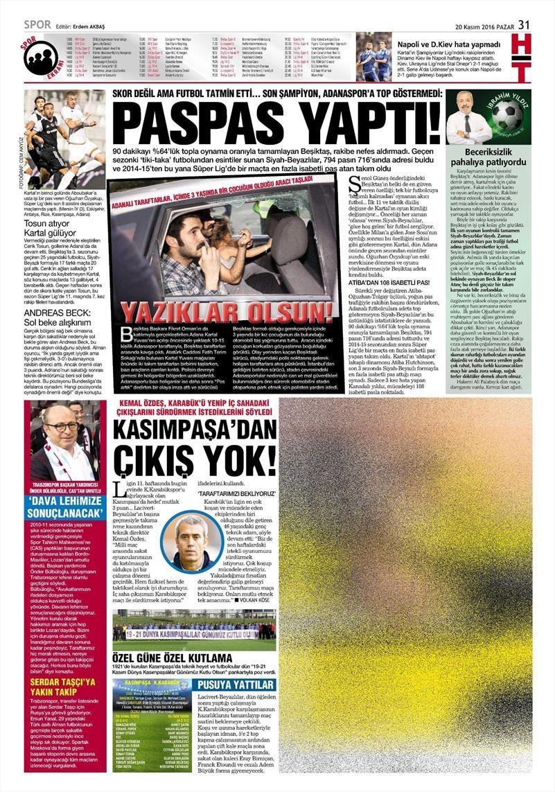 20 Kasım 2016   Gazetelerin Beşiktaş manşetleri 27