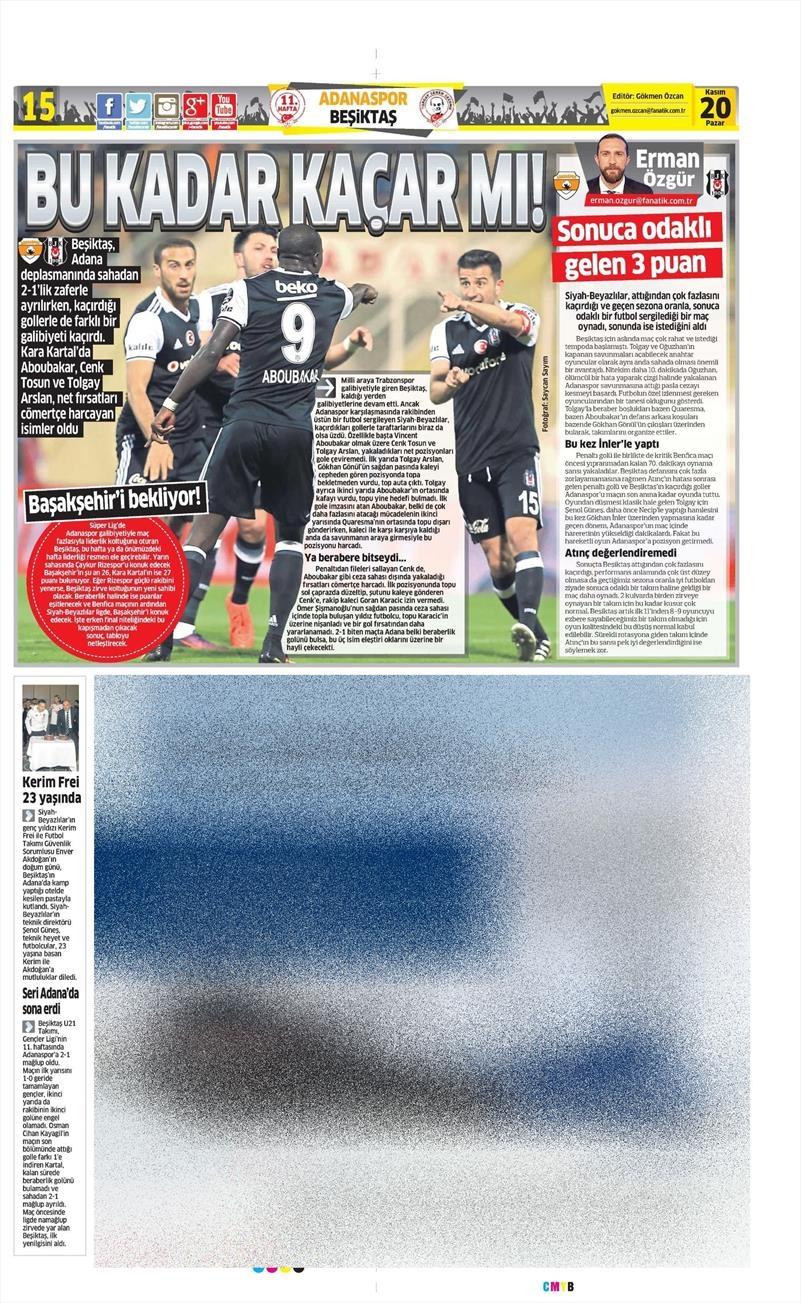 20 Kasım 2016 | Gazetelerin Beşiktaş manşetleri 28