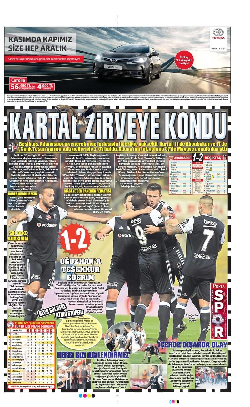 20 Kasım 2016   Gazetelerin Beşiktaş manşetleri 3