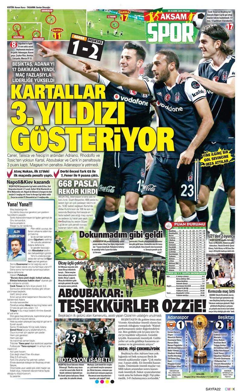 20 Kasım 2016 | Gazetelerin Beşiktaş manşetleri 4