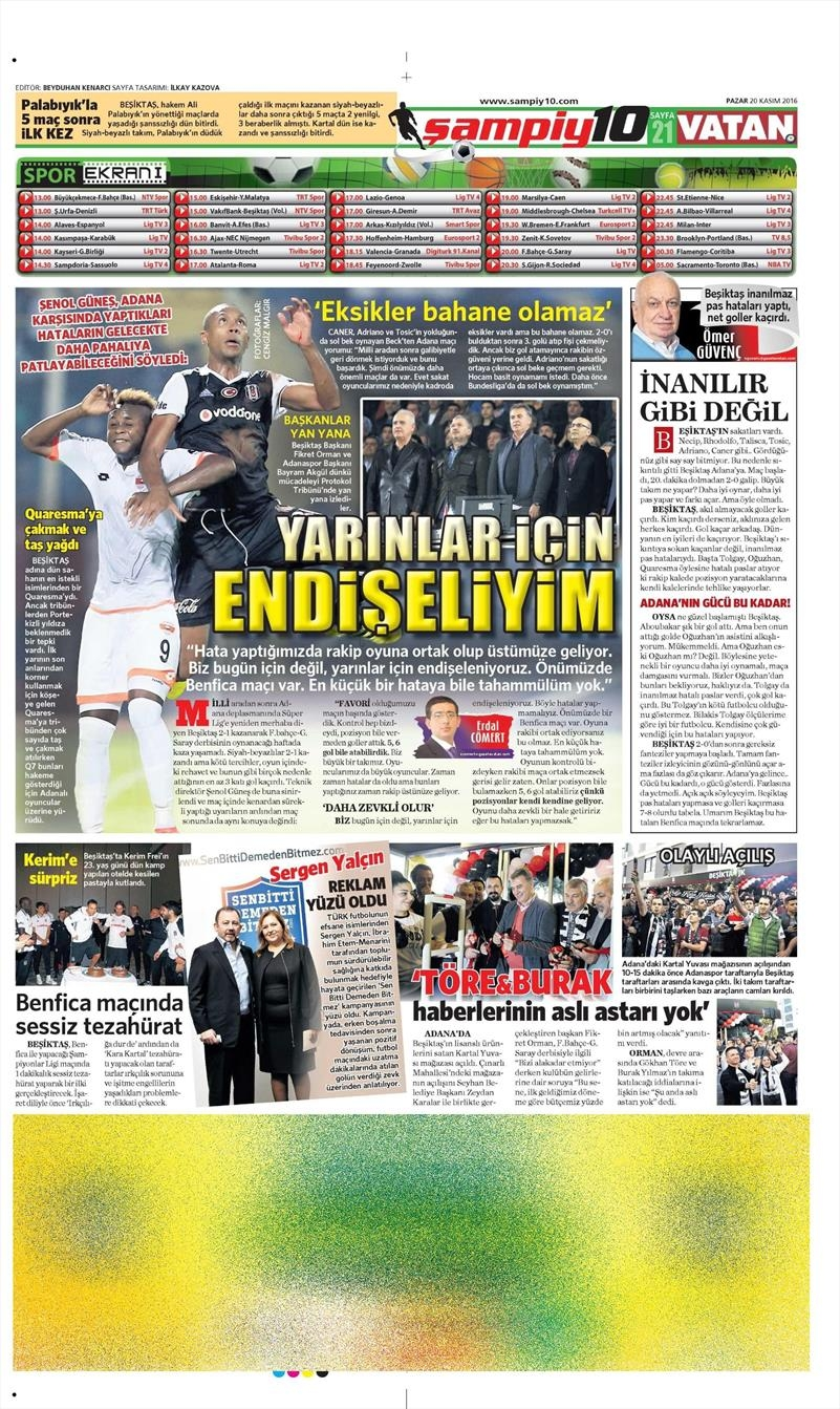 20 Kasım 2016   Gazetelerin Beşiktaş manşetleri 8