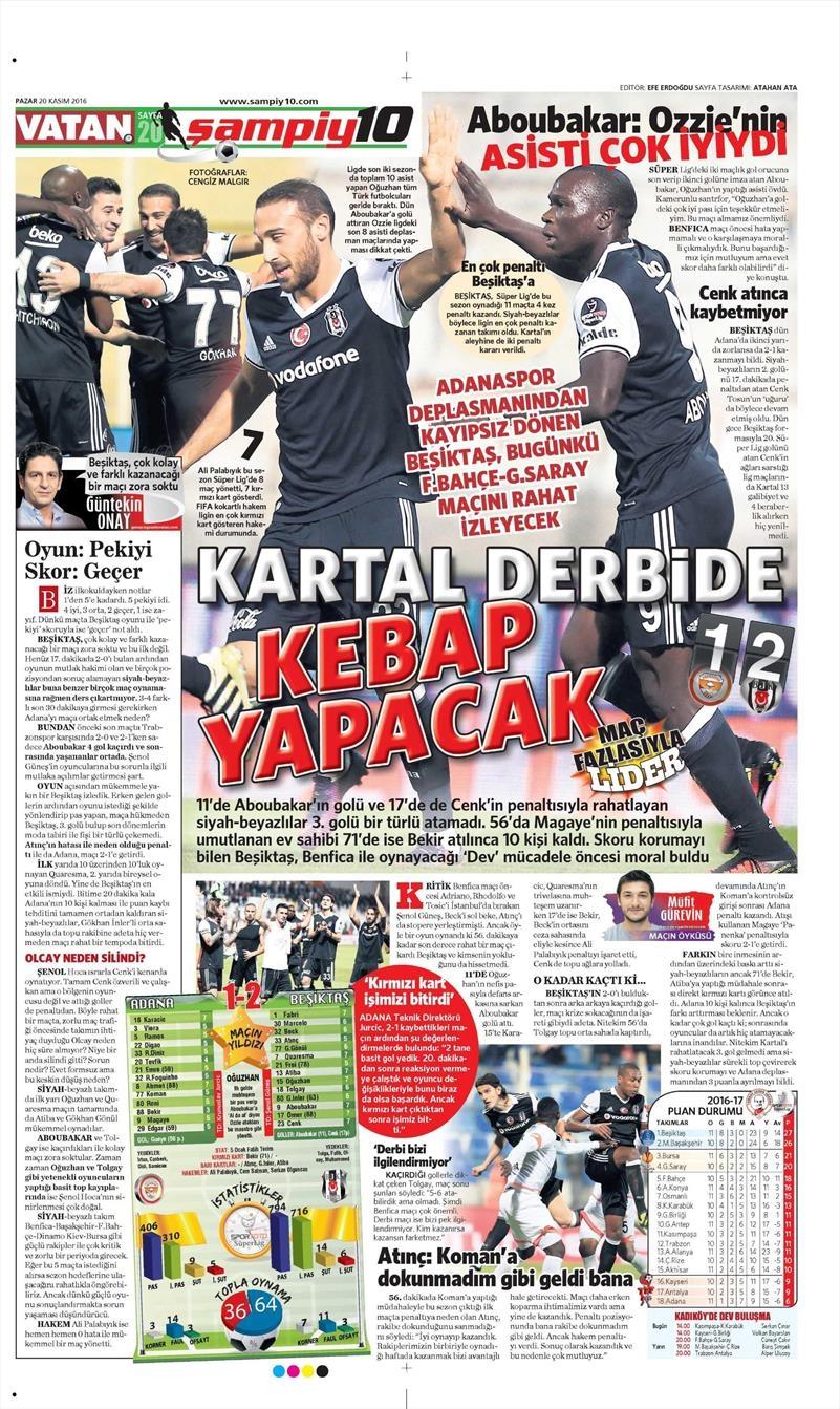 20 Kasım 2016 | Gazetelerin Beşiktaş manşetleri 9