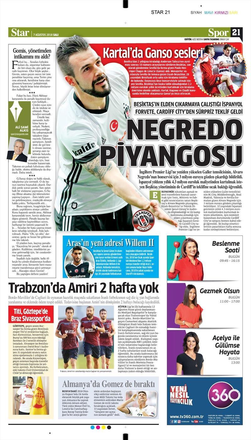 7 Ağustos 2018 | Gazetelerin Beşiktaş Manşetleri 1