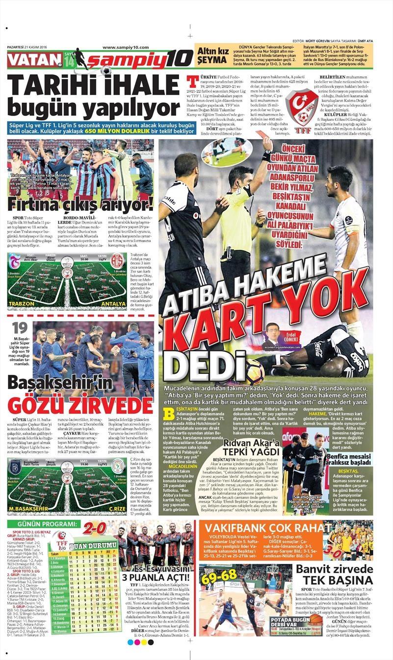 21 Kasım 2016 | Gazetelerin Beşiktaş sayfaları 1