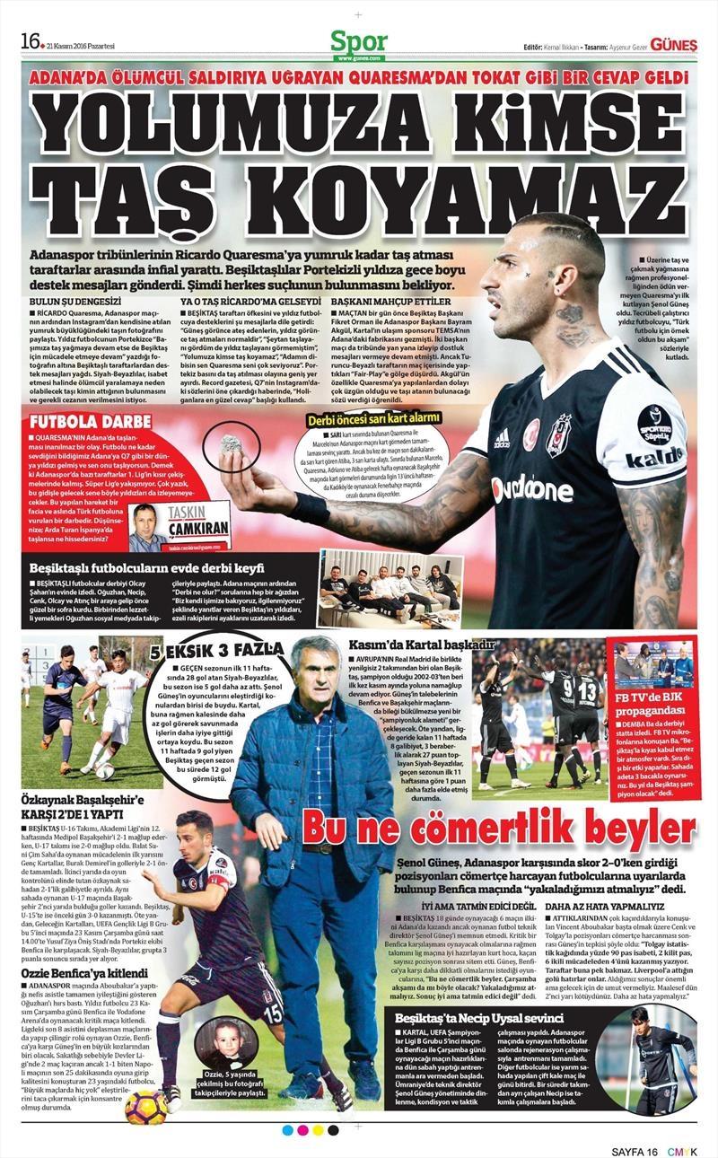 21 Kasım 2016 | Gazetelerin Beşiktaş sayfaları 10