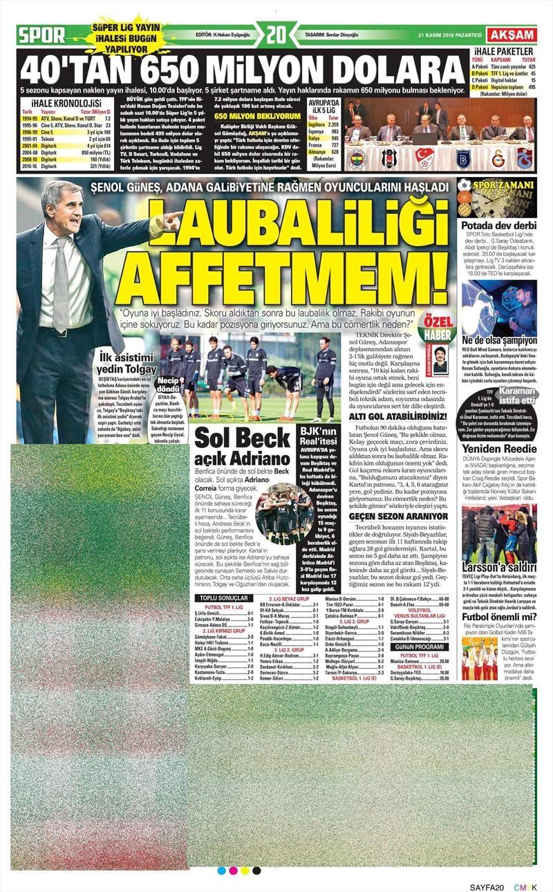 21 Kasım 2016 | Gazetelerin Beşiktaş sayfaları 12