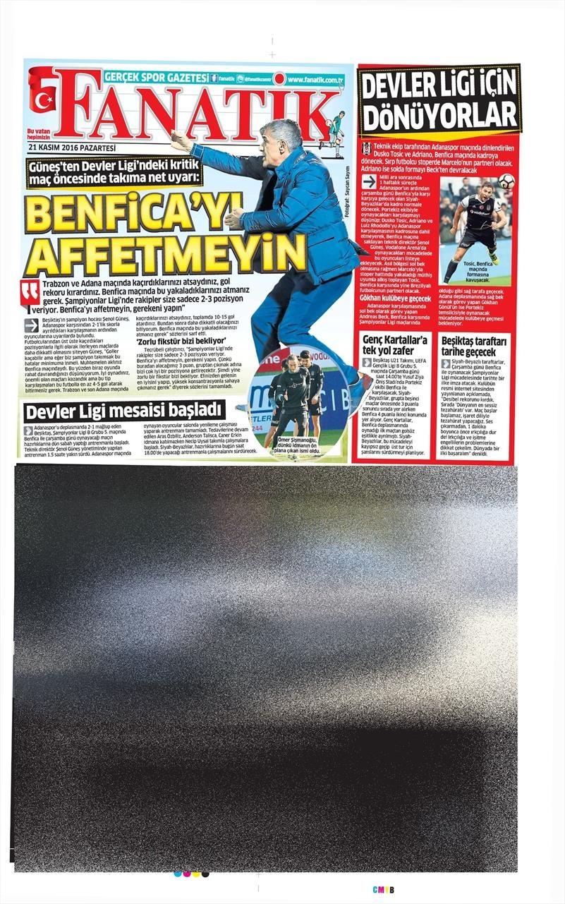 21 Kasım 2016   Gazetelerin Beşiktaş sayfaları 13