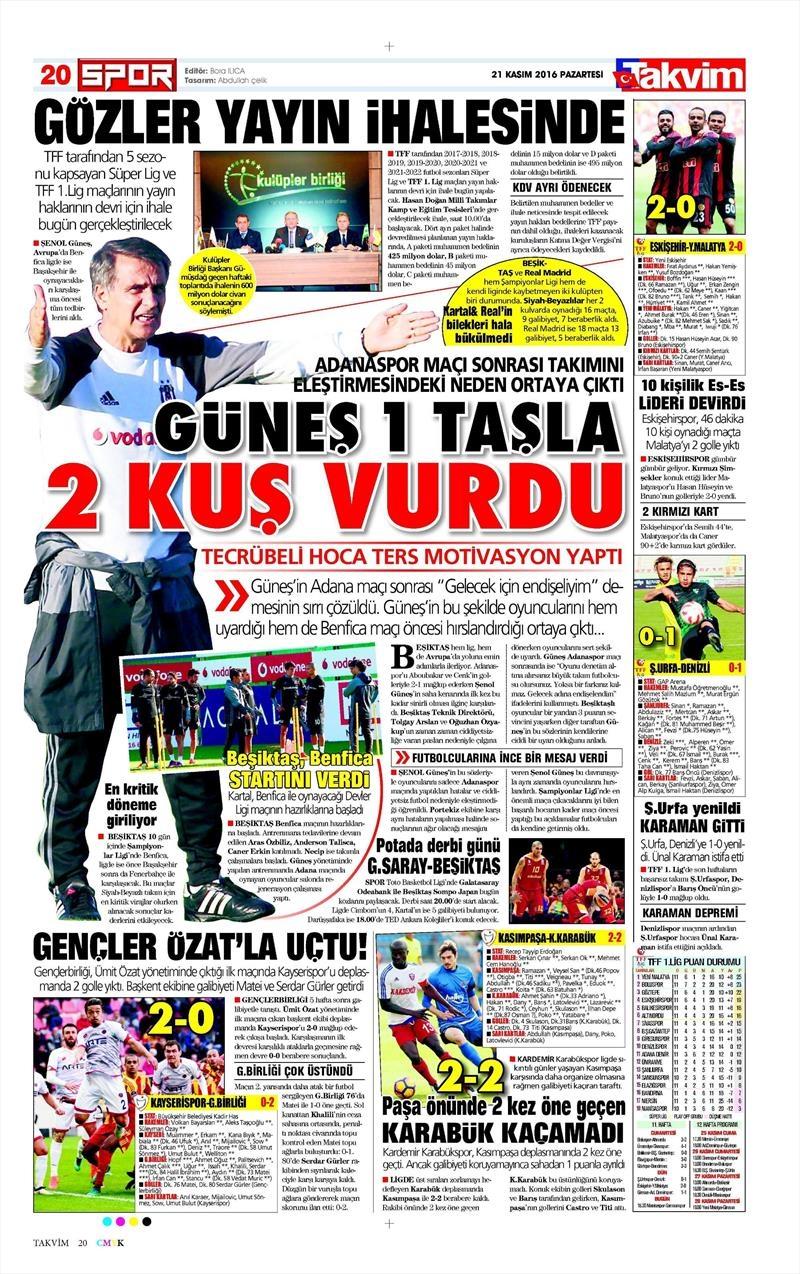 21 Kasım 2016 | Gazetelerin Beşiktaş sayfaları 3