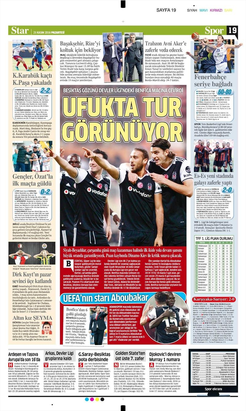 21 Kasım 2016 | Gazetelerin Beşiktaş sayfaları 4