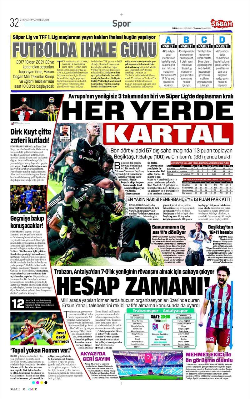 21 Kasım 2016 | Gazetelerin Beşiktaş sayfaları 5