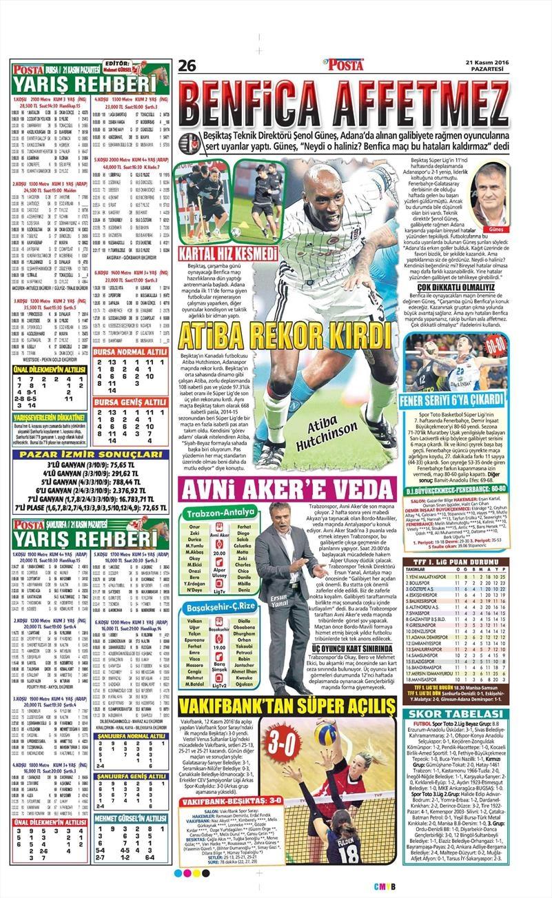 21 Kasım 2016 | Gazetelerin Beşiktaş sayfaları 6