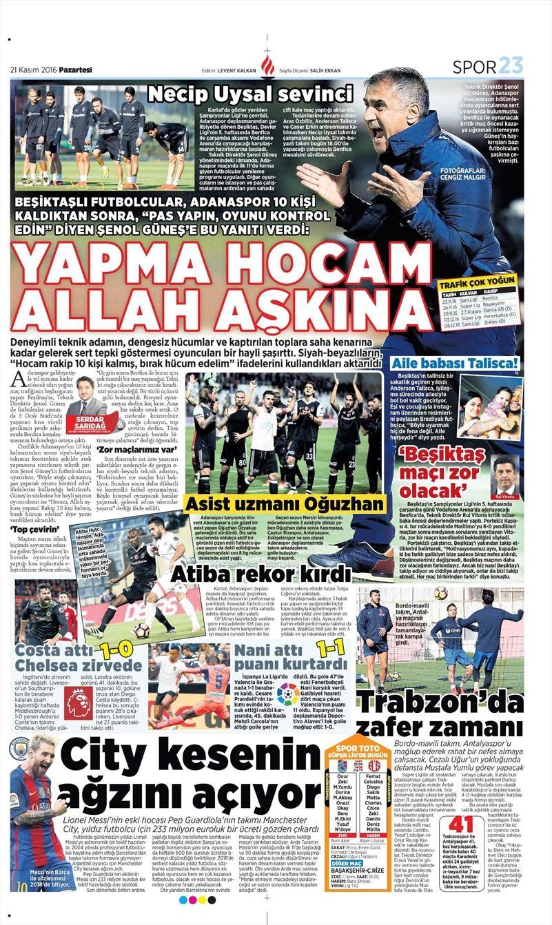 21 Kasım 2016 | Gazetelerin Beşiktaş sayfaları 7