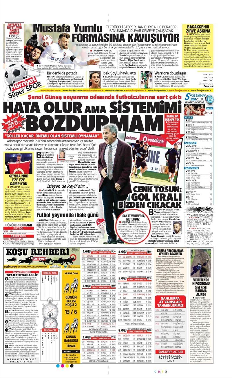 21 Kasım 2016 | Gazetelerin Beşiktaş sayfaları 8