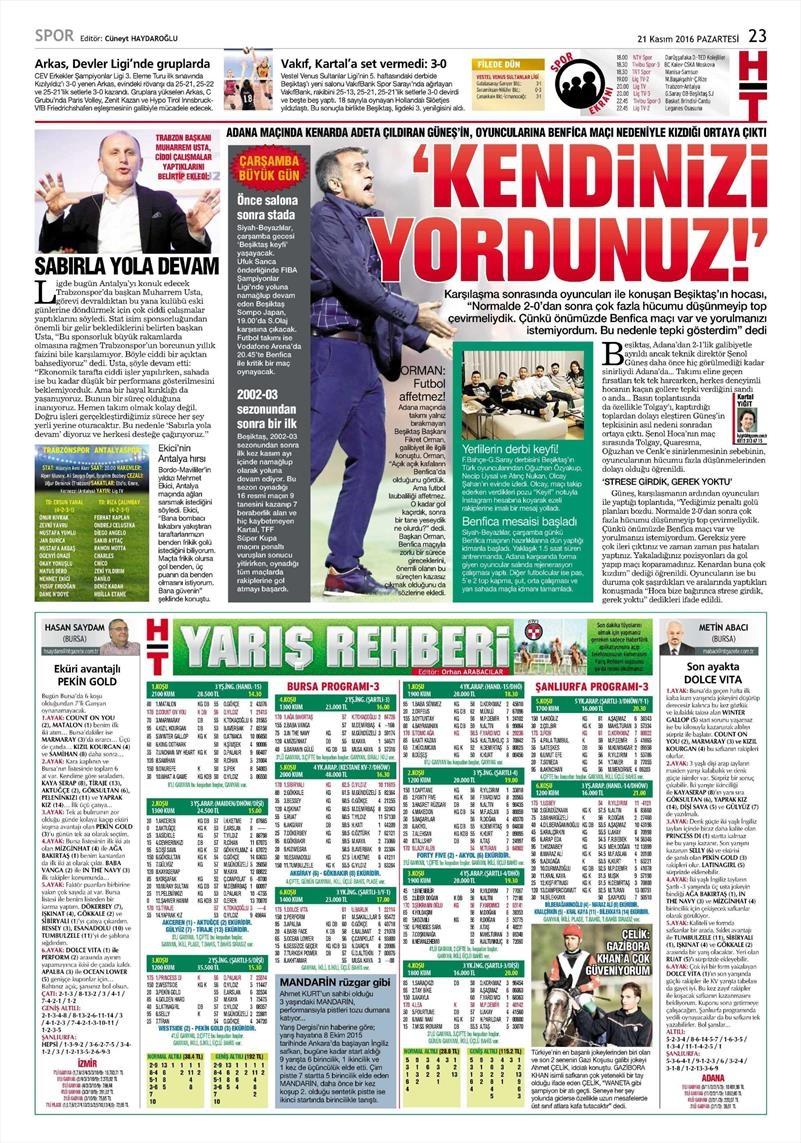 21 Kasım 2016 | Gazetelerin Beşiktaş sayfaları 9