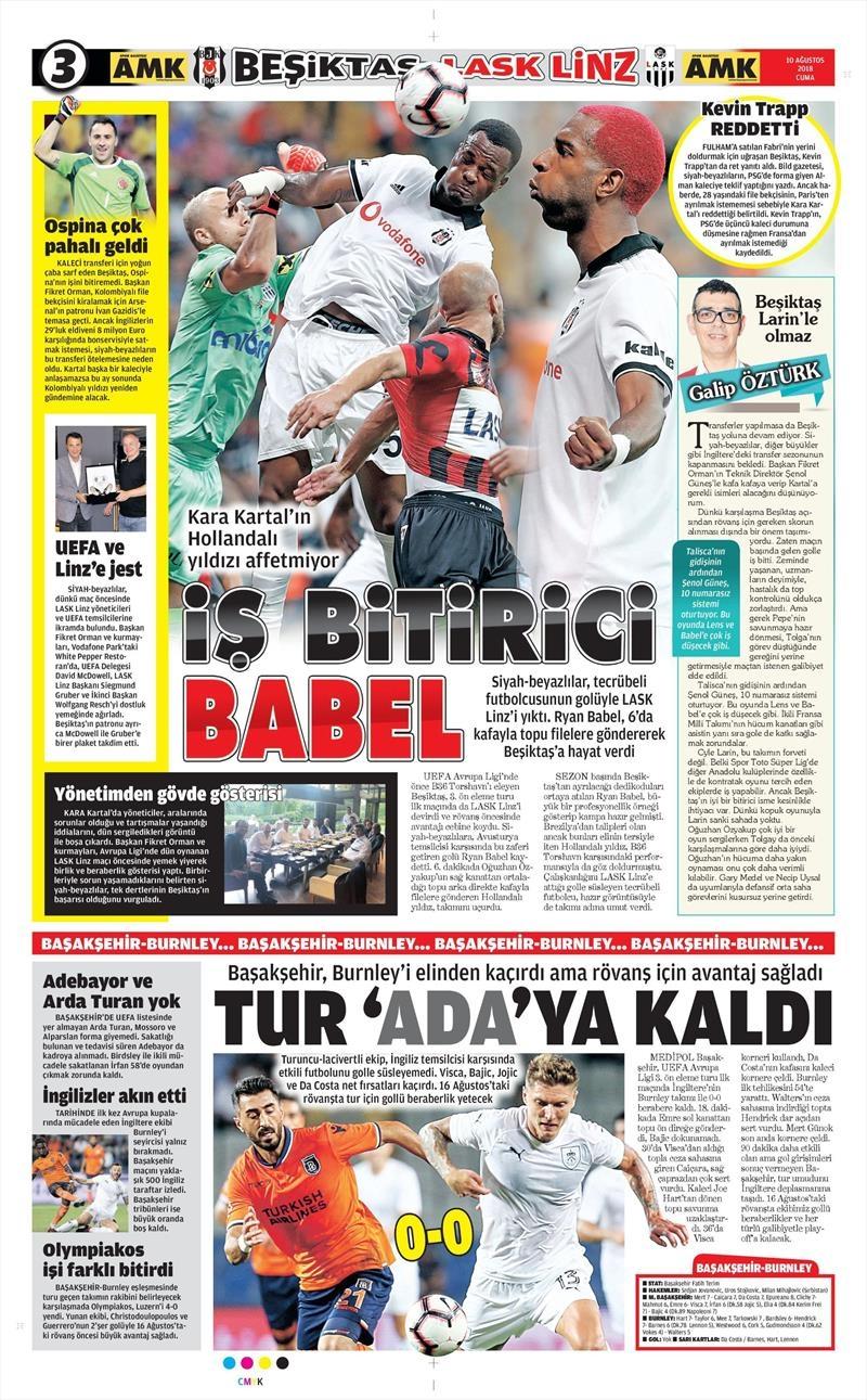 10 Ağustos 2018 | Gazetelerin Beşiktaş Manşetleri 1