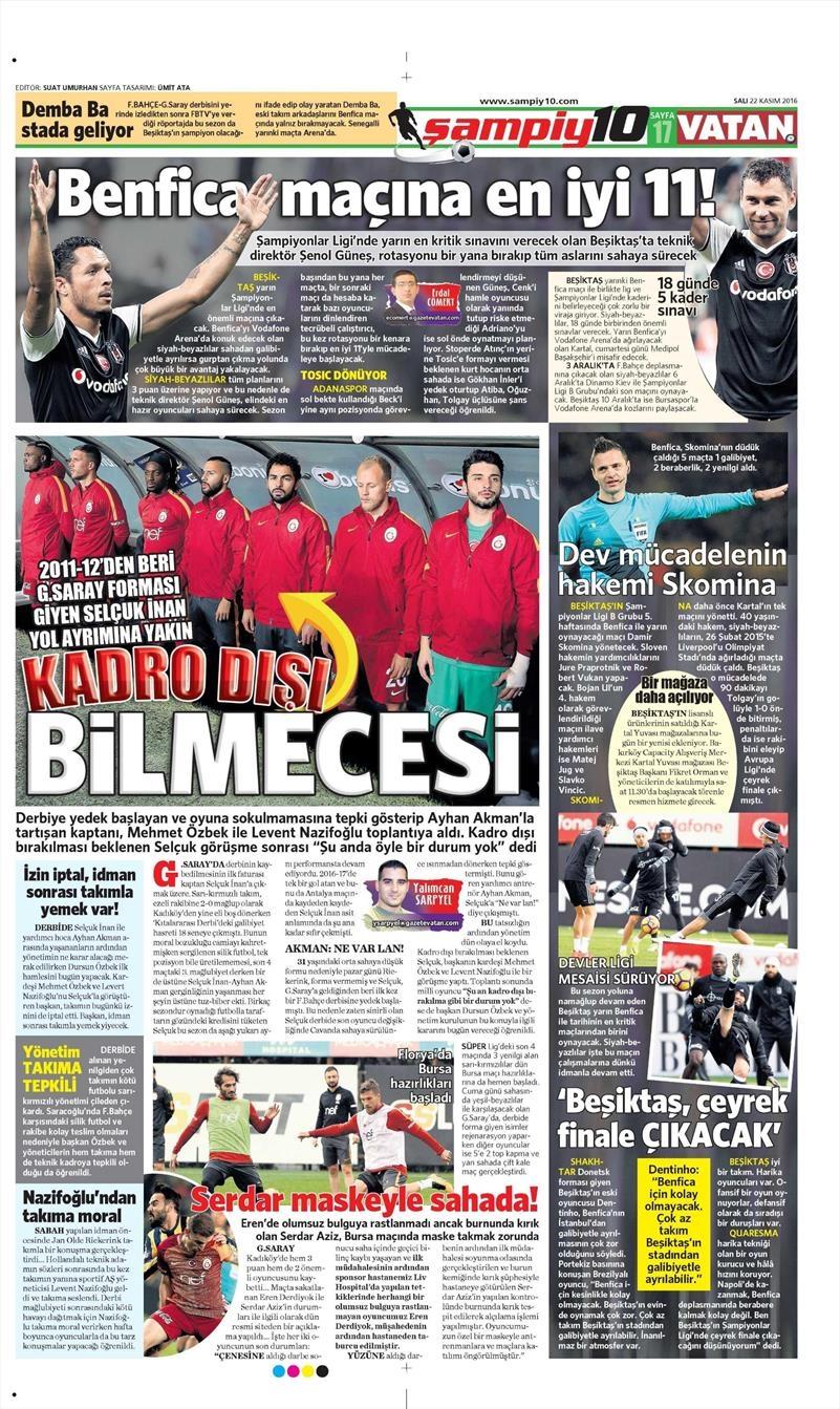 22 Kasım 2016 | Gazetelerin Beşiktaş sayfaları 1