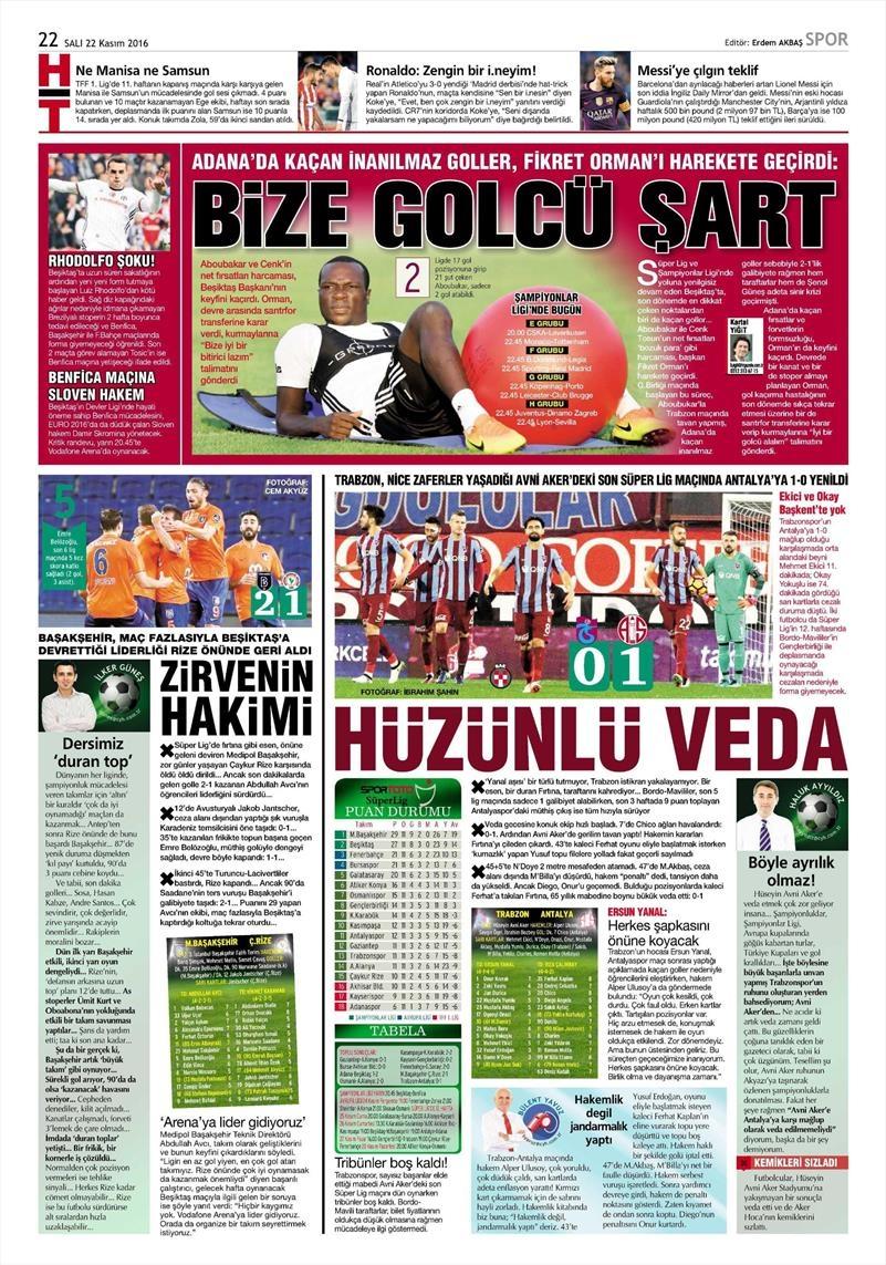 22 Kasım 2016 | Gazetelerin Beşiktaş sayfaları 11